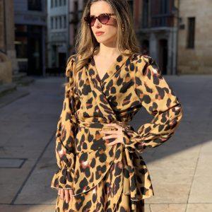 Vestido cruzado leopardo